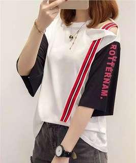 GFriend's Ribbon Off-Shoulder Printed Top T-Shirt