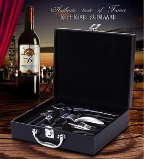 Wine bottle opener gift suit leather box nine sets of wooden lagomorphic wine set banquet gift