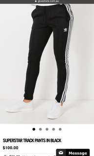 AUTHENTIC ADIDAS SUPERSTAR TRACK PANTS IN BLACK
