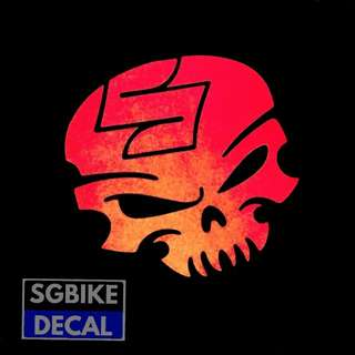 Red Suzuki Skull Reflective decal