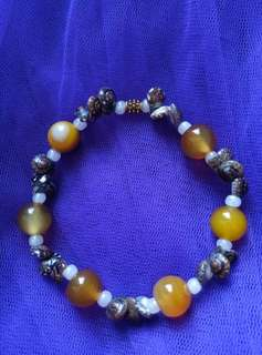 Gelang natural stone mix mote and little clam