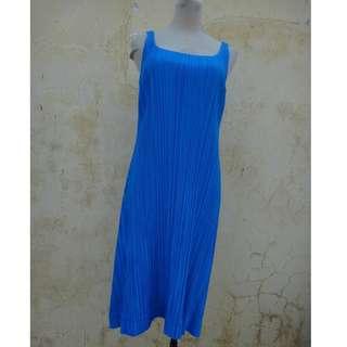 🚚 正品 日本製 三宅一生 PLEATS PLEASE 寶藍色 A字裙襬洋裝 size: 3