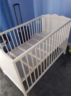 Ikea Baby Cot with Mattress, Bed Sheets & Bumper Pad