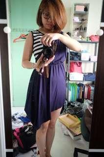 Asymmetrical navy blue and striped dress