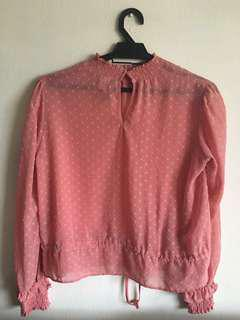 H&M Pink Heart Patterned Blouse