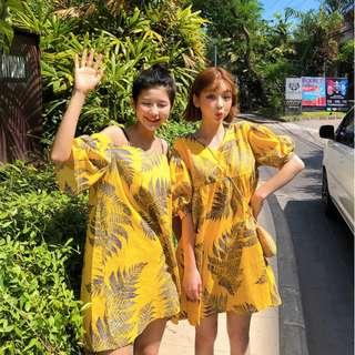 小甜美樹葉點綴一字領細肩帶洋裝 dress ( CHUU 官網代購 ) 平口 露肩 連身裙 短裙 鬆緊 棕櫚葉