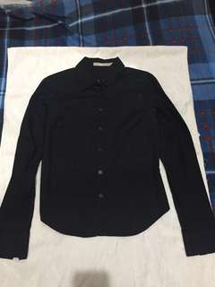 Black Polo-Longsleeve for ladies