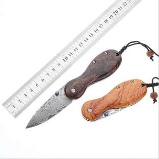 Damascus Collection Knife Camping Sharp Folding Knife 大马士革收藏刀户外锋利折叠刀#499