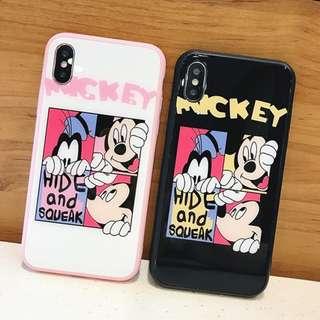 ^手機殼IPhone6/7/8/plus/X : 可愛卡通廸士尼全包邊玻璃背板殼