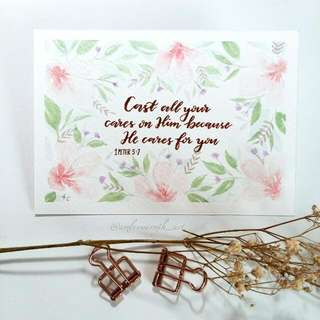 Watercolour Pearlescent Card A6 Pink Flowers Floral (Bible Verse)