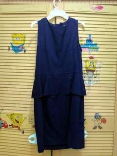 Peplum Dress Navy