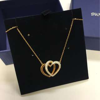 順豐$10》Swarovski心心水晶頸鍊DEAR NECKLACE, ROSE GOLD PLATING
