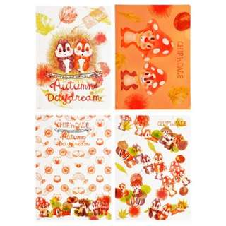 JAPAN DISNEYSTORE, JAPAN IMPORTED: File Set Series: 4 PC CHIP'N'DALE ORGANIC PARTY File