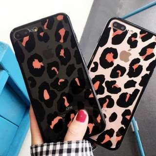 ^手機殼IPhone6/7/8/plus/X : 韓國時尚黑色豹紋全包黑邊透明軟殼