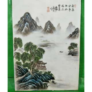 手绘山水瓷板画 1  Hand-painted landscape porcelain painting 1