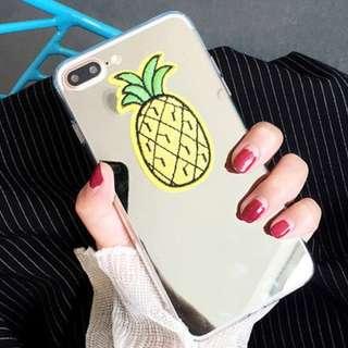 ^手機殼IPhone6/7/8/plus/X : 韓國夏日菠蘿全包邊鏡面背板殼