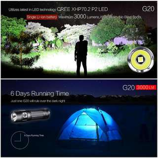 (FREE Delivery - 3,000 Lumens) KLARUS G20 Pocket Size USB Rechargeable Flashlight/Torchlight - Full Set