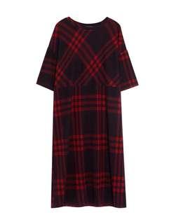 Pull and Bear Long Checked Dress