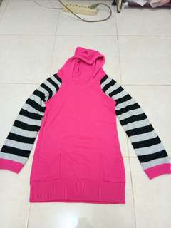 hoodie pink rajut