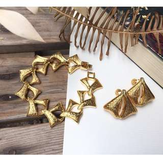 Skin&Moss Vintage復古歐美新藝術風格植物系列耳環手鍊組變的堅韌鏤空銀杏葉金色手鍊耳夾組庫存品