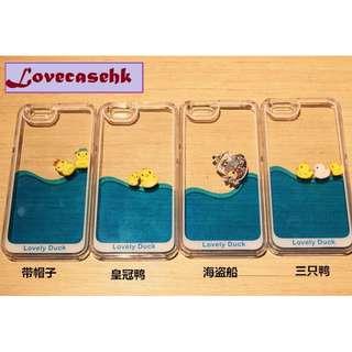 ^手機殼IPhone6/7/8/plus/X : 韓國游泳小黃鴨流動液體全包邊軟殼(厚度:0.5cm)