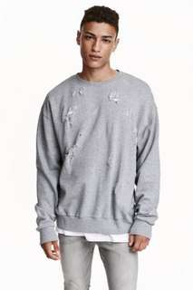 H&M TRASHED SWEATSHIRT - GREY AND OLIVE UNISEX