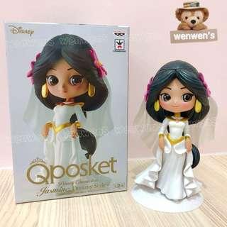【wenwens】日本 正版 代理 景品 Qposket 迪士尼 公主 阿拉丁 茉莉公主 婚紗 茉莉 公仔 B款 白色
