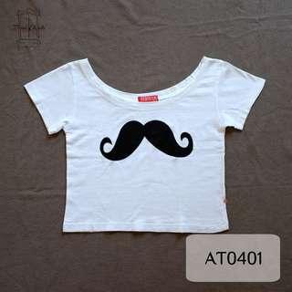 White Moustache Crop Top