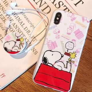 ^手機殼IPhone6/7/8/plus/X : 卡通史努比配氣囊支架全包邊軟殼
