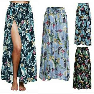 Floral Splited Long Skirt