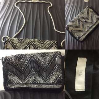 H&M Suede Clutch with Silver Sling