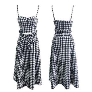🚚 韓版時尚百搭吊帶抹胸短上衣加綁帶裙