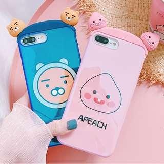 (C)手機殼IPhone6/7/8/plus/X : 立體耳朵Kakaofriends小熊藍光全包邊軟殼