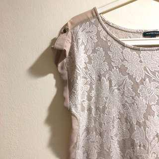 Warehouse champagne lace top