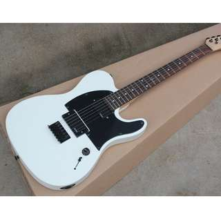 White Electric Guitar with 2 EMG Pickups, Black Pickguard, Black Hardwares (Pre-Order New)