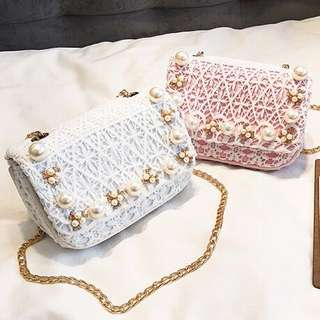 Pearls & Lace Details Small Sling Bag