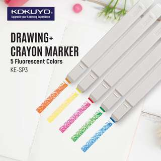 KOKUYO DRAWING+ CRAYON MARKER FLUORESCENT - REFILLABLE (10 COLORS AVAILABLE)