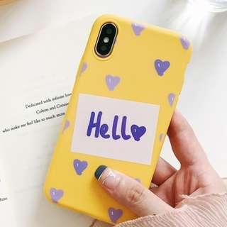 (C)手機殼IPhone6/7/8/plus/X : 韓風簡約字母愛心全包邊軟殼