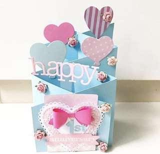 🚚 Happy 1st Anniversary handmade interactive card