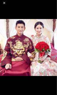 吳奇隆同款男裝中式結婚馬掛
