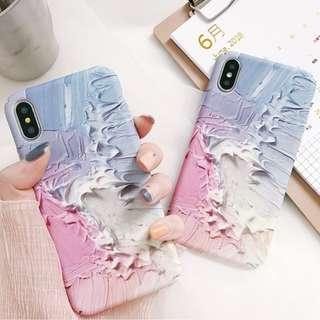 (C)手機殼IPhone6/7/8/plus/X : 簡約水彩油畫少女款全包邊磨砂硬殼
