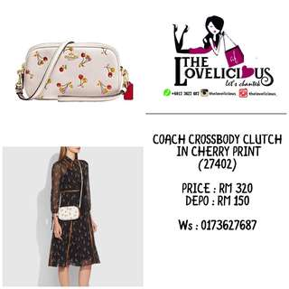 Coach Cherry Print Pebbled Leather Crossbody Bag Clutch 27402