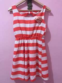 Pink and white strips dress