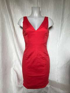 coral red sexy dress