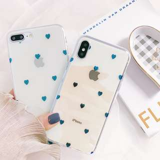 (C)手機殼IPhone6/7/8/plus/X : 簡約愛心藍光全包邊透明軟殼