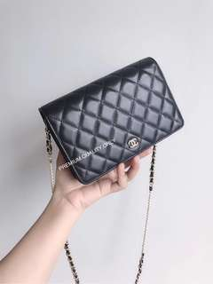 Chanel Pearl Wallet On Chain- black