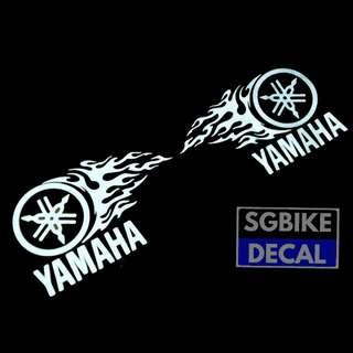 White reflective flame yamaha decal