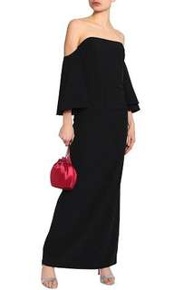 Milly / Off-The Shoulder Crepe Black Gown