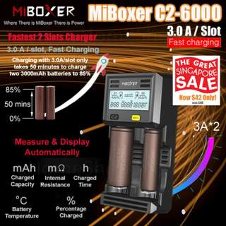 MiBoxer C2-6000 3.0A Per Slot Fast Smart Charger With UK Plug (GSS) - 18650, 26650, 2 Slots Battery Charger