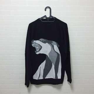 Monstore Black Wolf Sweater